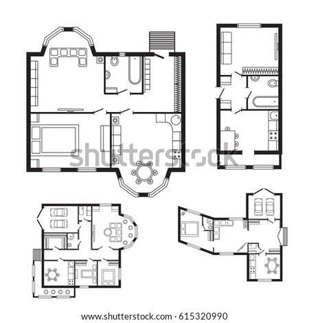 First Second Floor Plan Floorplan House Stock Illustration