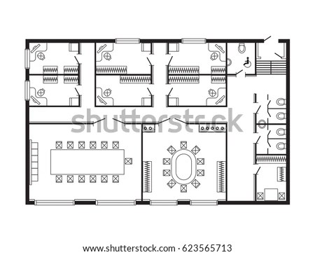 Modern Office Architectural Plan Interior Furniture Stock