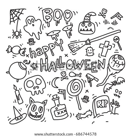 Halloween Doodles Icons Set Vector Illustration Stock