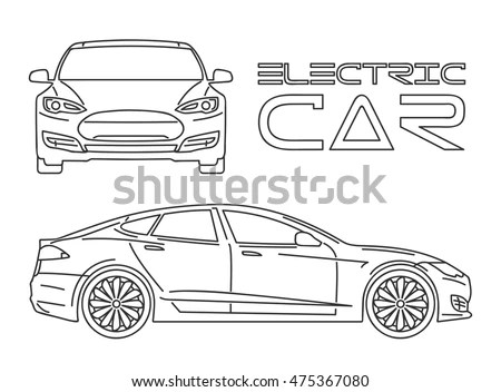Silhouette Electric Car Outline Stock Vector 475367080