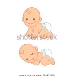 cartoon baby cute vector diaper sleeping crawling newborn illustration child shutterstock hand