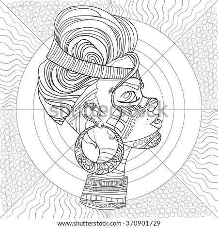 Doodle Vector Monochrome Decorative Afro Woman Stock