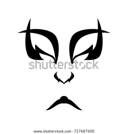 Angry Eyes Skull Black Vector Print Stock Vector 424145704