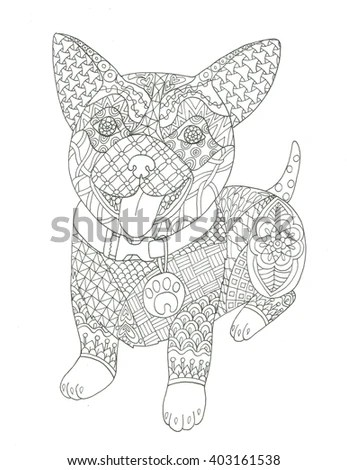 Hand Drawn Coloring Pages Giraffe Zentangle Stock Vector