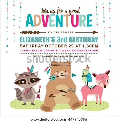 Birthday invitation card clipart vector inviview kids birthday invitation card cute cartoon stock vector 449945386 stopboris Choice Image