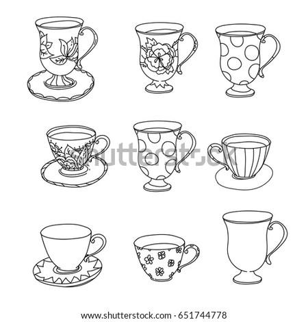 Tea Cup Coffee Cup Saucers Set Stock Vector 164487515