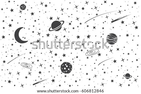 Space Background Cosmic Objects Hand Drawn Vector Stock