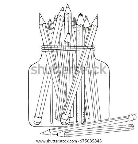 Pattern Coloring Book Set Colored Pencils Stock Vector