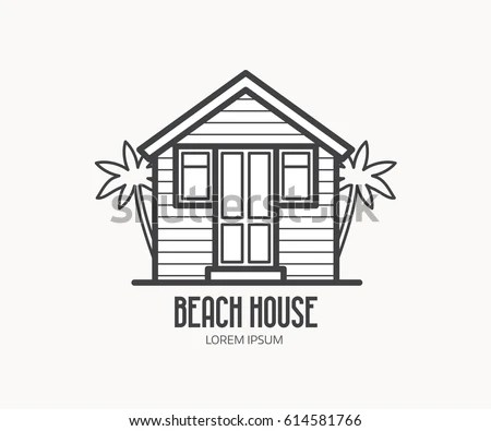 Summer Bath House Vector Illustration Beach Stock Vector
