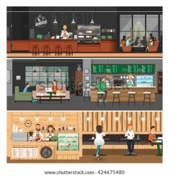 vector coffee cafe inside cartoon counter bar interior banner flat shutterstock eps welcome cliparts illustrations interiors