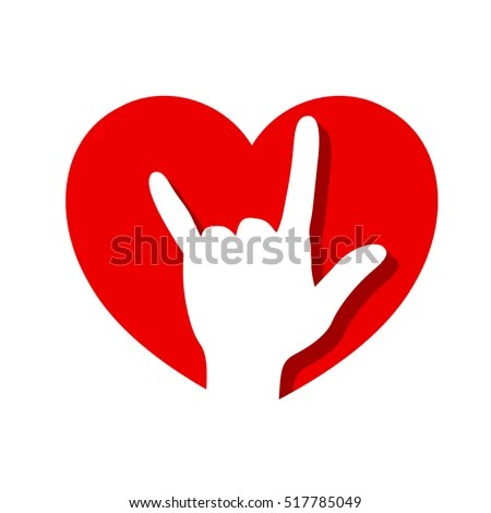 Download Hand Love You Sign Red Heart Stock Vector 517785049 ...
