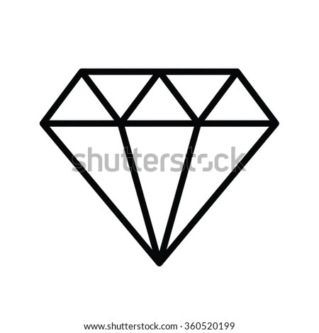 Diamond Outline Icon Vector Illustration Stock Vector