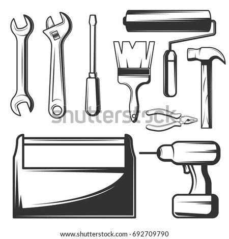 Carpentry Tools Doodles Kit Traditional Carpenter Stock