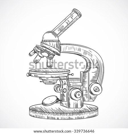 Microscope Vintage Science Laboratory Vector Hand Stock