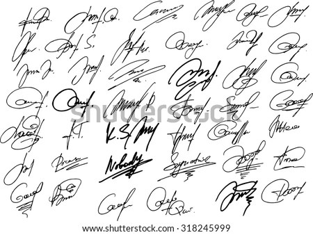 Collection Vector Signatures Fictitious Autograph