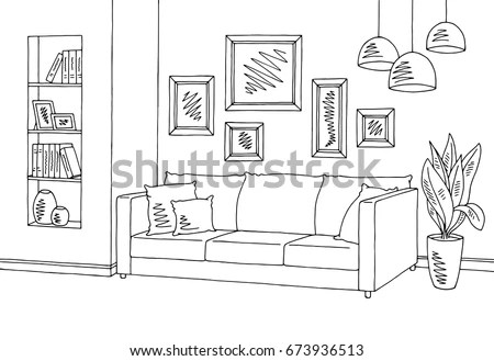 Living Room Black And White Cartoon