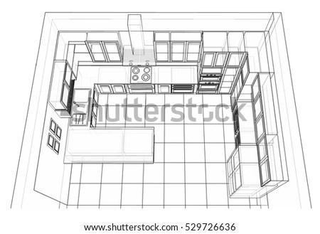 Interior Design Classic Style Kitchen Modern Stock