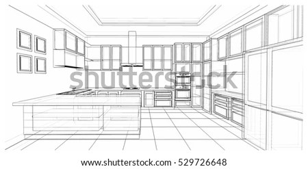 Architectural Perspective View Cinema Interior Drawn Stock
