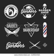 barber badges set barbers