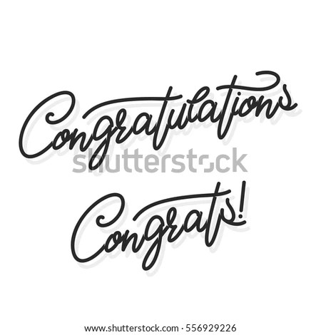 Congratulations Hand Lettering Illustration Calligraphic