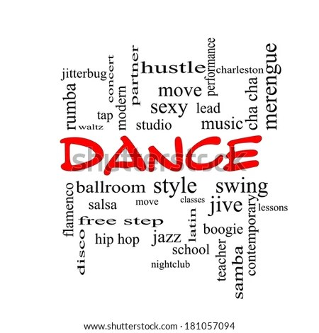 Dance Word Cloud Concept in red caps with great terms such