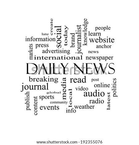 Daily News Word Cloud Concept Black Stock Illustration