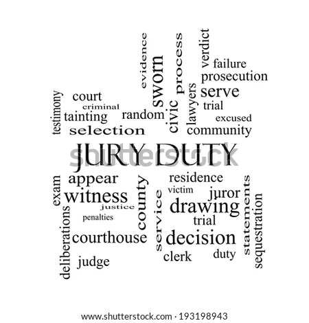 Jury Duty Word Cloud Concept Black Stock Illustration
