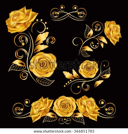 Flowersvector Illustration Gold Roses Vintage Decoration