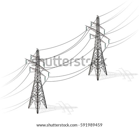 Vector High Voltage Pylons On White Stock Vector 591989459