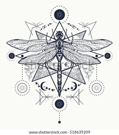 Dragonfly Tattoo Hand Drawn Mystical Symbols Stock Vector