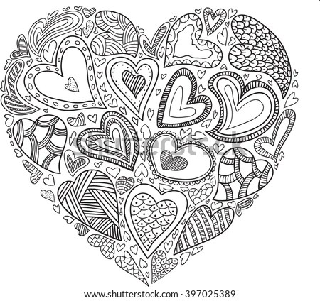 Vector Heart Pattern Coloring Book Ethnic Stock Vector