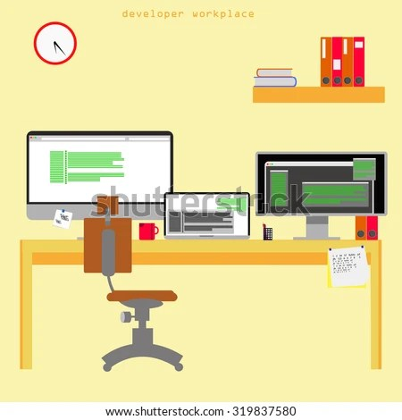 Home Office Vector Illustration On Yellow Stock Vector