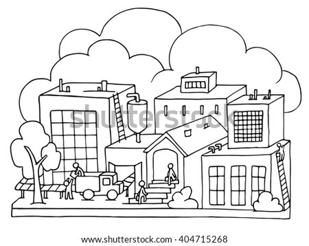 Thin Line Schematic City Vector Stock Vector 449565856