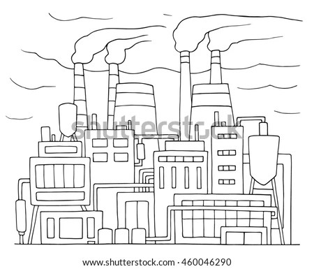 Industrial Cartoon Sketch Nuclear Power Station Stock