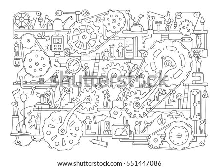 Sketch People Teamwork Gears Production Doodle Stock