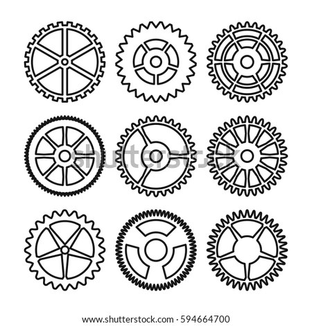 Vector Clock Gears Outline Icons Set Stock Vector
