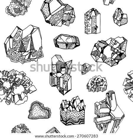 Pattern Gems Crystals Minerals Stock Vector 270607283