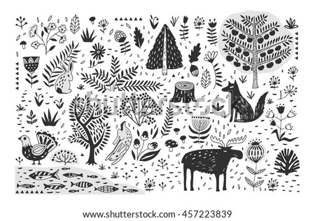 Cute Henna Wallpapers Hand Drawn Pattern Abstract Scandinavian Nature Stock