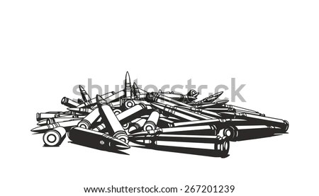 Rifle Bullets Over White Background Stock Vector 267201239