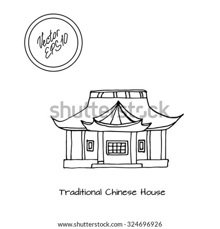 Hand Drawn Sketch Detached Asian Traditional Stock Vector