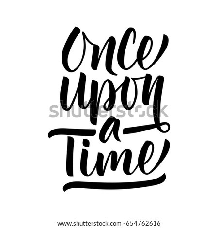 Hand Drawn Vector Lettering Once Upon เวกเตอร์สต็อก