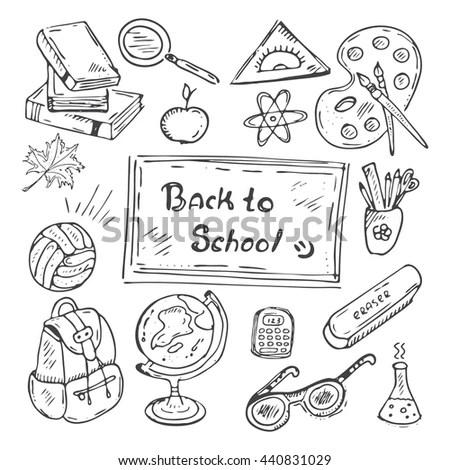 Back School Handdrawn Doodle Set Black Stock Vector