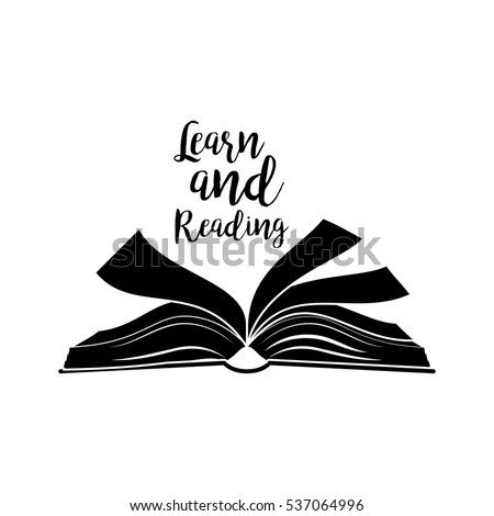Learn Reading Lettering Quote Open Book Stock Vector