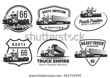 Set Classic Heavy Truck Logo Emblems Vectores En Stock