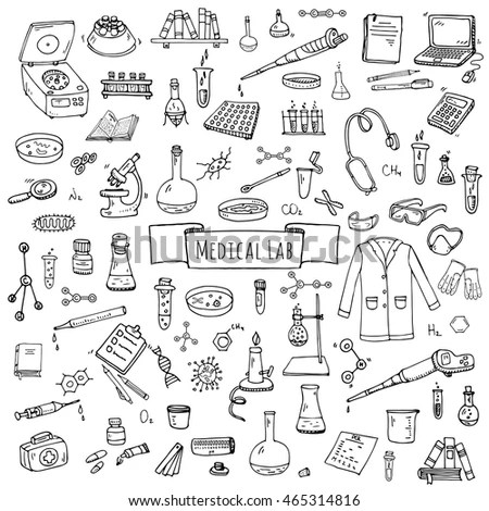 Hand Drawn Doodle Medical Laboratory Icons Stock Vector