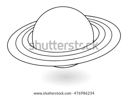 Planet Saturn Rings Outline Stock Vector 345973448