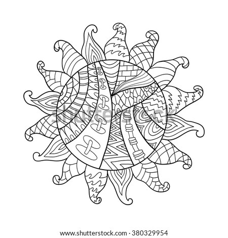 Tribal Stand Up Paddle Board Sketch Coloring Page