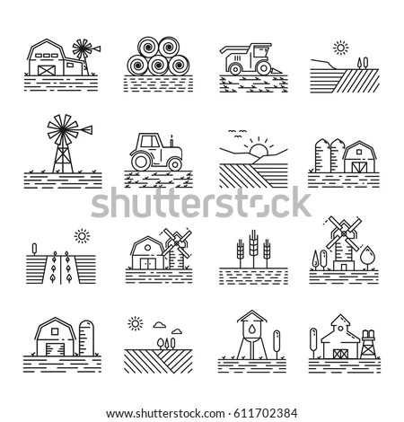 Farm Farming Fields Line Icons Vector Stock Vector