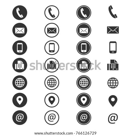 Contact Info Icon Phone Addressbook Button Stock Vector