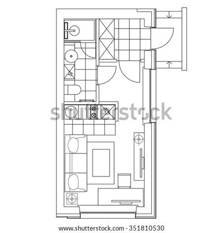 Small Kitchen Interior Stock Vectors & Vector Clip Art